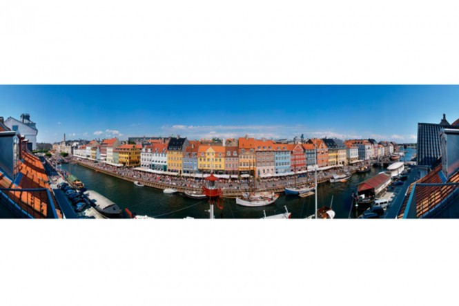 Summer Sunny Side of Nyhavn Panorama Photo