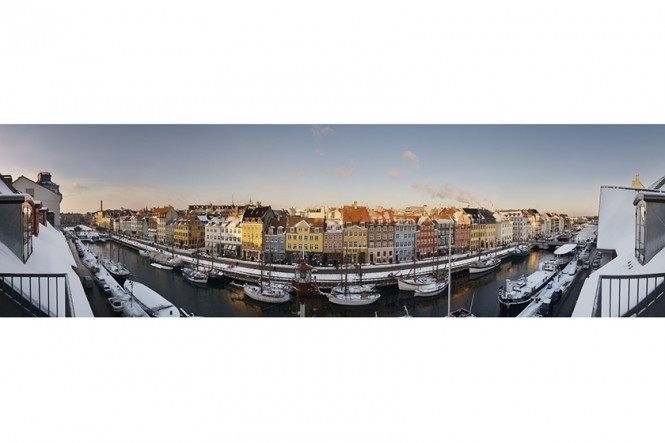 Winter Sunny Side of Nyhavn Panorama Photo