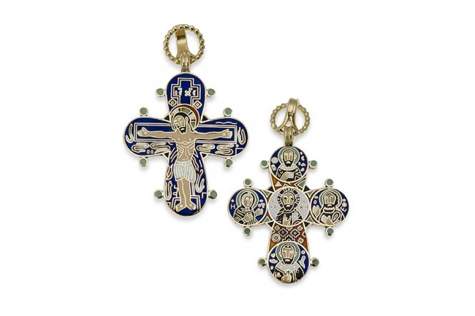 Gold and Enamel Dagmar Cross Pendant