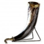 Carved Drinking Horn in Brass