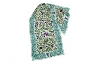 Aqua Scarf with Patterns from Danish Castles