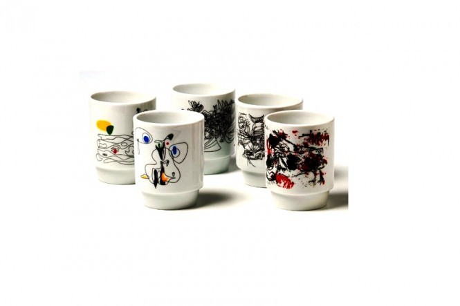 5 Thermo Mugs With Asger Jorn Motifs