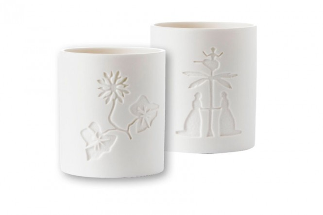 Two White Porcelain Candleholders #2