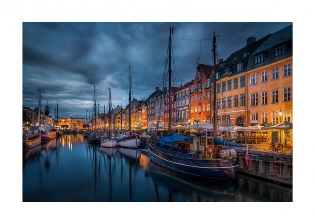 Nyhavn in Copenhagen at Night Time – Art Print