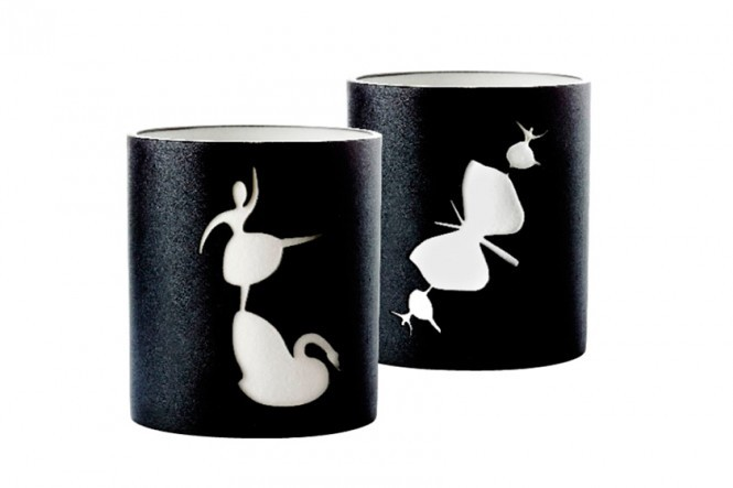 Black Porcelain Candlesticks #1