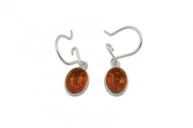 Earrings With Cognac-Colored Amber