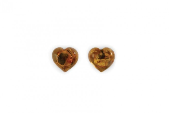 Earrings With Amber Hearts