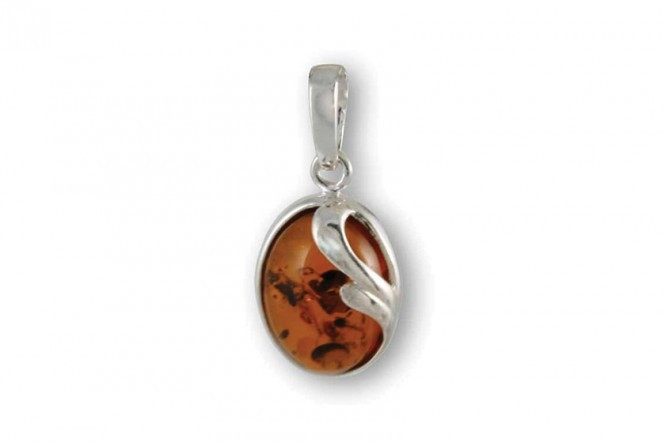 Pendant in Sterling Silver with Cognac Amber