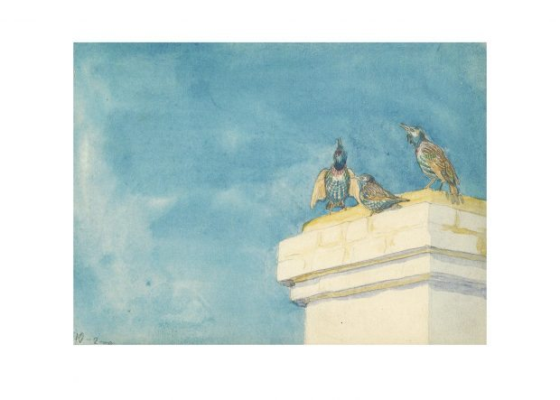 Three Starlings on a Roof – Johannes Larsen Art Print